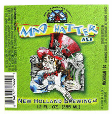 New Holland Brewing MAD HATTER ALE beer label MI 12oz WITH BARCODE - Var. #1
