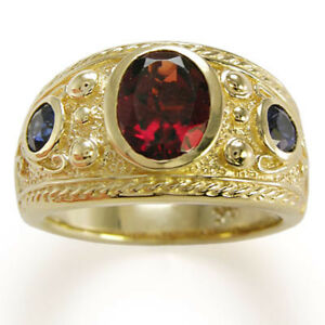 Etruscan Byzantine Style Men's Garnet and Sapphire Ring 18k Yellow Gold 7 to 14