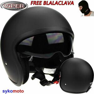 Jethelm Viper RSV06 matt schwarz Chopper Sturz Helm Rollerhelm Motorradhelm S-XL