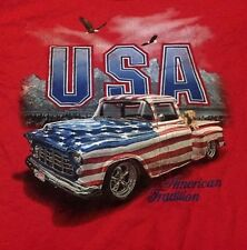 American USA Eagle Men's Vintage Classic Truck Red T-Shirt Size Large L