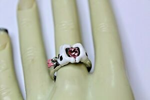 DISNEY MICKEY MOUSE HANDS SILVERTONE PINK HEART &  BUTTERFLY RING SIZE 8