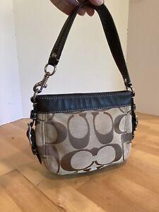 Coach Brown Fabric Leather Trim Zoe Bag Purse F41856
