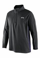Nike TCU Horned Frogs Knit Coaches 1/4 Zip Mock Neck Jacket Pullover Black Small