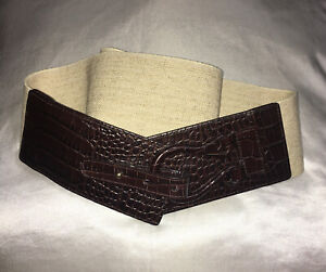 Preston & York Brown Wide Leather and Woven Elastic Chain Loop Buckle Belt L