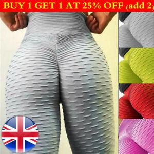 Womens Elastic Yoga Gym Anti-Cellulite Leggings Fitness Solid Butt Lift Pants UK