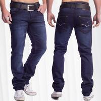 Herren Indigo Jeans dunkelblau Regular Fit Five Pocket stonewashed Capo