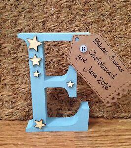 Personalised Birth New Baby Christening Gift Present Keepsake Wooden Letter