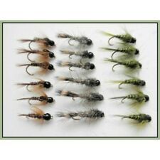 Tungsten Bead, Trout Flies, 18 Nymphs, Olives, Hares Ear, Pheasant Tail, Mixed