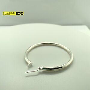 Fully Hallmarked 925 Sterling Silver Solid Medium Hoop Earrings - FREE P&P