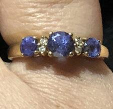 Beautiful Three Stone Iolite Ring 14k Gold Size 8