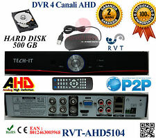 KIT Dvr 4 Canali H264 HDMI CON HARD DISK DA 500GB iPhone Android P2P OFFERTA