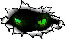 30cm  Oval Ripped Open Torn Metal With GREEN Evil Demon Horror Eyes car sticker