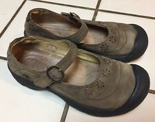 KEEN Calistoga Mary Jane Cut Out Taupe Nubuck Leather Shoes Women's 6.5 M