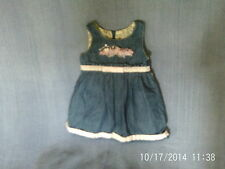 Baby Girls 12 Months - Blue Denim Pinafore Dress, Pink Floral Trim - Pampolina