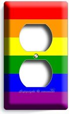 RAINBOW COLORS FLAG DUPLEX OUTLET WALL PLATE COVER ROOM DECOR GAY LESBIAN PRIDE