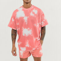 Men Tie-Dye Outfits Sport Set Short Sleeve T-shirt + Shorts 2 Pieces Loungewear