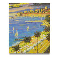 NY Art - Beautiful Beaches of Barcelona 20x24 Original Oil Painting -On Sale!