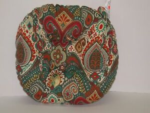 """Resort Spa Outdoor Tufted Round Seat Pad ~ Paisley Multi ~ 16"""" x 3.5"""" Thick NEW"""
