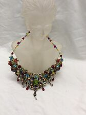 Stunning  Vtg Michal Negrin Multi Colors Rhinstones Statement necklace