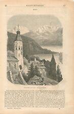 Panorama Lac de Thoune Oberland bernois Berne Dessin de Stroobant GRAVURE 1855