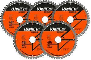 5 x WellCut TCT Saw Blade 160mm x 48T x 20mm Bore Suitable For Festool TS55 HK55