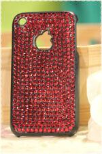 Cover rigida iphone 3-3gs strass rossi applicati a mano colore base nera
