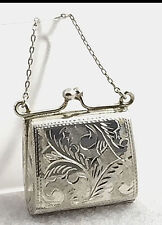 Vintage .925 Sterling Silver Floral Etched Miniature Purse / Pill Box or Pendant
