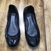 TORY BURCH Black EDDIE Patent Leather Ballet Flat - Size 8 M