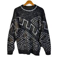 Vintage Le Tigre 90s Coogi Style 3D Knit Black White Grey Sweater Biggie Cosby