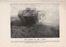 1918 WW1 WORLD WAR I WWI PRINT ~ TANK ADVANCE ON THE SOMME INFANTRY