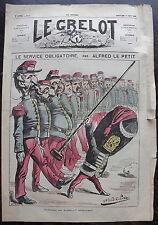 """LE GRELOT. 16 juin 1872, n° 62. Le service obligatoire par Alfred LE PETIT. """"Col"""