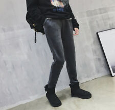 New Winter Warm Womens Casual Harlan Velvet Pants Elasticity Waist Gray SZ M