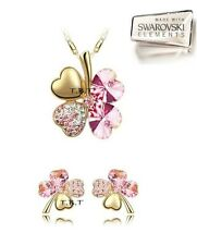 Parure set COLLANA ORECCHINI DONNA Clover ROSA LIGHT oro Crystal SWAROVSKI.B33/5