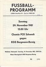 DDR-Liga 81/82 BSG Bergmann Borsig Berlin - Chemie PCK Schwedt  29.11.1981