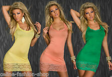 Sexy Party Ringer Longtop Top Kleid Minikleid Spitze Gelb Orange Grün 34 36 38
