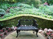 French Victorian Cast Aluminum Medium Colonial Garden Bench - Antique Repro.