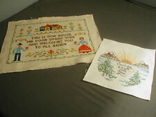 2 EMBROIDERED SAMPLERS - EACH DAY IS A GIFT GOD & THIS IS OUR HOUSE  - t 35