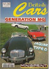 BRITISH CARS 26 MGA MGB MGF JAGUAR TYPE D DAIMLER V8 BRISTOL 406 GINETTA G27