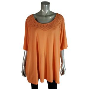 Catherines Womens Top Plus Size 3X 26/28W Tunic Stretch Scoop Neck Cotton Orange