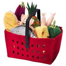 IKEA LÅTSAS (Latsas) 12-Piece Shopping Basket & Food Soft Toy Play Set
