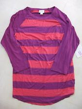 LulaRoe Randy Top/Shirt Purple and Coral Striped Size Med / Super Soft / BNWT