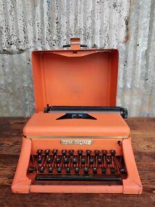 Vintage Tom Thumb Child's Typewriter Pink Salmon Metal Toy Portable Nice Example