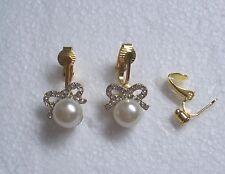Blanco Perla de Imitación Diamante Arco pendientes de clip-Muy Bonita
