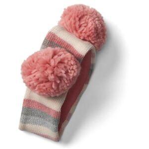 Baby Gap NWT Pink Gray Crazy Stripe Pom Pom Fleece Lined Headband XS/S S/M $20