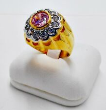 MEN RING PINK SAPPHIRE CZ 18K 24K YELLOW GOLD FILLED GP SOLITAIRE SUN DOME # 9.5
