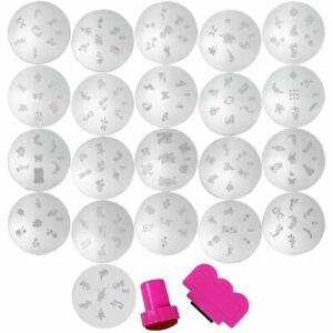 COM-FOUR® 23-teilig Nagelstempel Nageldesign Tattoo Nail Art Schablonen Set 1