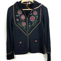 Anthropologie Saturday Sunday Embroidered Zip Up Hoodie S Small Navy Blue B3