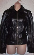 Black faux leather jacket uk 14 eu 42 peter pan ASOS winter spring coat zip