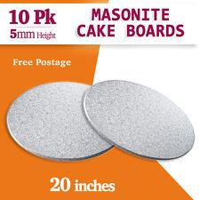 "Masonite Cake Board Silver 10 PK 20"" Inches Round - 5mm Thickness"
