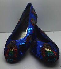 RADICAL Cobalt Blue Red Sequined Comfort Ballet Flats Birds Parrots RARE Sz 7.5B
